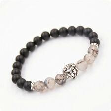 "Charm  Men's Black Matte Agate Silver lion Head Beads Bracelet 7.5""/8MM Beads"