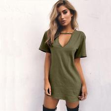 Womens Choker V Holiday Long Tops T-shirt Ladies Casual Party Mini Dress Blouse