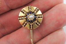 Fine Antique Victorian 9ct Gold Enamel & Pearl Stick - Tie Pin / Cravat Stick