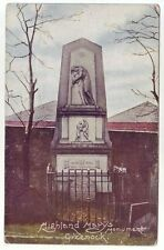 Highland Mary's Monument Greenock c1906 Irish Pictorial Cork Old Postcard