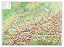 Vrai 3D Carte Du Relief Suisse Format Paysage 77x57cm #100564