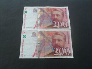 lot de 2 billets 200 francs eiffel 1997