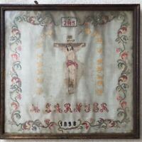 Antique sampler 19th Century Embroidery Victorian 1898 Crucifixion Religious Old