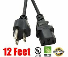 12 Ft 3 Prong AC Cable Power Cord for LCD TV Plasma DLP LED Monitor Screen