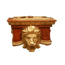 Hickory Manor Lion Toilet Paper Holder/Gold Oak - HM82001GO
