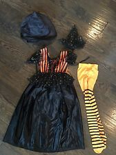 Child's Witch Costume  - Size Small 2 hats and orange striped tights
