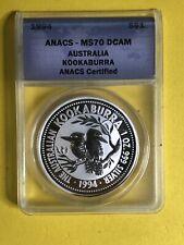 1994 $1 AUSTRALIA KOOKABURRA 1 OZ .999 SILVER ANACS CERTIFIED MS 70 DCAM