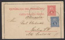 Paraguay : Carte Lettre Entier Postal 2 Centavos + Complément de 5 Centavos bleu