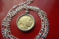 """American Gold Plated Buffalo Nickel Pendant  on a 28"""" .925 Sterling Silver Chain"""