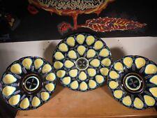 Céramique Vintage 60 Rare Trio Plats Huitres QUIMPER HB H B Perlé Turquoise 2/2