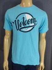 VOLCOM COTTON T SHIRT Mens Medium Light Blue Black & White Logo Surfing Casual