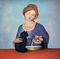 STILLEBEN MIT KATZE canvas Öl auf Leinwand Gemälde Gr. ca. 33x33 cm