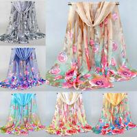 Women Long Floral Scarf Wrap Shawl Silk Scarves Chiffon Stole Sunscreen Summer