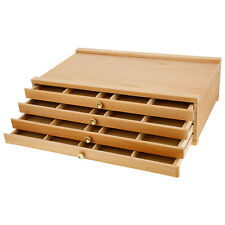 US Art Supply® Artist Wood Pastel, Pen, Marker Storage Box with 4-Drawers