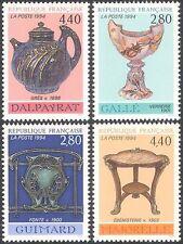 France 1994 Art Nouveau/Furniture/Glass/Design/Craft/Ceramics 4v set (n20901)