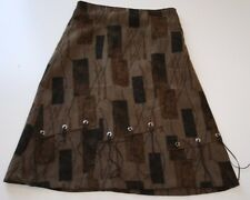 Vese Brown Patterned Skirt With Tassels Fully Lined Size 5-6 Juniors Below Knee