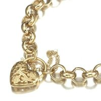 18K Yellow Gold GL Chunky Solid Women's Belcher Bracelet & Filigree Heart Clasp