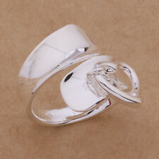 925 Sterling Silver Plated HEART CHARM RING Thumb/ Wrap Ring. ADJUSTABLE. Gift