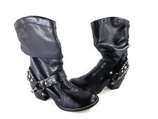 KENSIE GIRL WOMEN'S KOWGIRL BOOTS BLACK FAUX LEATHER IMPORTED US SIZE 6 MEDIUM