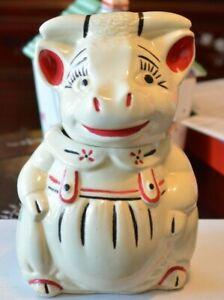 """VINTAGE AMERICAN BISQUE CO. COW IN RED SUSPENDERS  12"""" CERAMIC COOKIE JAR"""