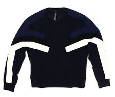$645 - NEIL BARRETT Men's Navy 'RETRO MODERNIST STRIPED' PULLOVER SWEATER- XXS