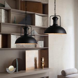 Large Chandelier Kitchen Black LED Pendant Lighting Shop Vintage Ceiling Lights