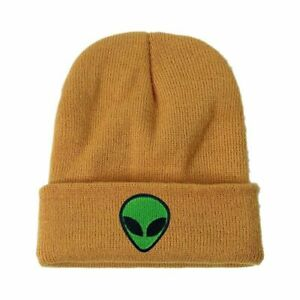 Street Knitted Green Alien Hats Cute Knitted Cap Embroidered Unisex Skull Beanie