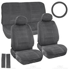 Charcoal Full Cloth Encore style 3mm Premium Car Seat Covers Low Back 9 pc