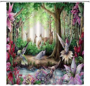 Fairy Forest Hummingbird Peacock Floral Gorgeous Boho Fabric Shower Curtain