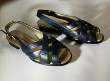 HUSH PUPPIES Soft Flex Women's Size 8 EW Sandals Heels Navy Strappy Open Toe