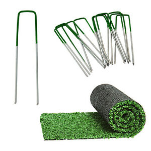 Artificial Grass Pins (Green) Galvanised Metal U Pegs Membrane Fabric Staple UK