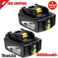 2X 6Ah For Makita BL1860B BL1830 LXT Lithium Battery BL1850 18V Compact Cordless