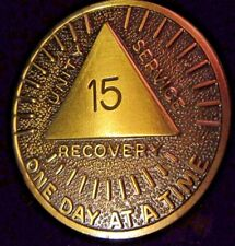 Alcoholics Anonymous AA 15 Year Sunshine Bronze Medallion Token Chip Coin Sober