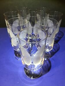 SET OF 8 - Vintage Neiman-Marcus Butterfly Etched And Signed Drinking Glasses