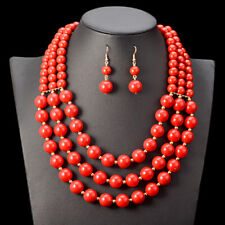 Addo Ladies red bead statement necklace African Woman jewellery set Costume