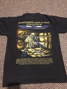 Iron Maiden L Rare Vintage Somewhere Back In Time World Tour 2008 Eu Leg T Shirt