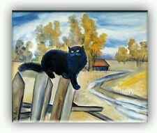 Gemälde.  Katze. Landschaft. Der Wächter.