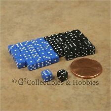 NEW 5mm 50 Blue Black Mini Dice Set RPG Game Miniature 3/16 inch Tiny D6 Koplow
