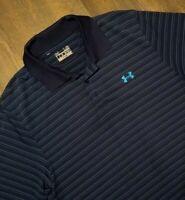 Under Armour UA Heat Gear Loose Stripe Polo Golf Shirt Mens XL Blue Teal Dri-Fit