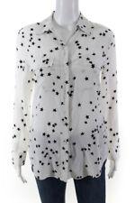 Equipment Womens Long Sleeve Stars Slim Signature Shirt White Size XS 11325130