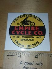 (1) Empire Cycle Co. MOTORCYCLES  DEALER  DECAL Spokane wa