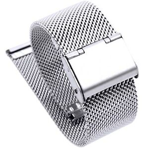 22mm Stainless Steel  Mesh Milanese Watch Band Bracelet Colour Silver