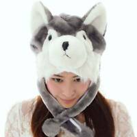 Cartoon Animal Husky Cute Fluffy Plush Warm Hat Cap Scarf Earmuff Winter