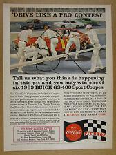 1969 Coke Coca-Cola 'Pit-Stop' GREAT pit crew stock car racing art vintage Ad