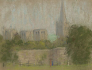 E. Matthews, Chichester Cathedral – Original 1966 pastel drawing