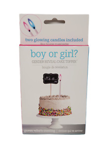 Baby Gender Reveal Cake Topper - Pink & Blue Flame Candles - NEW in Box