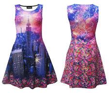Unique New York City Skyline Fireworks Floral Flowers Paisley Skater Dress