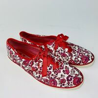 Keds Women's Floral Lace Up Sneaker Tennis Shoe Red White Size 8