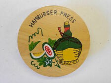 Vintage Wooden Hamburger Meat Press by Ucagco. Original Label. Display or Use