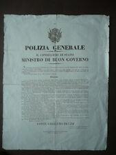Grida 1832 Licenza di Caccia Armi Polizia Generale Modena Ducato Estense 1815